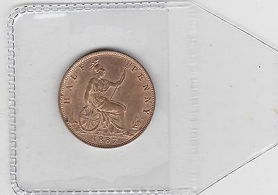1887 Victoria Jubilee Head Half Penny In Good Extremely Fine Or Better Condition