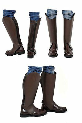 Riders Trend Premium Calfskin Leather Gaiters with Amara Lining - Brown - 15x17""