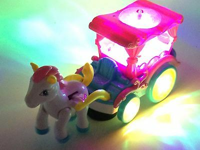 Kids Girls Pony Magical Wagon With Light And Sound Bump & Go Toy