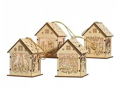 Christmas LED Wooden Light up Houses in 4 designs