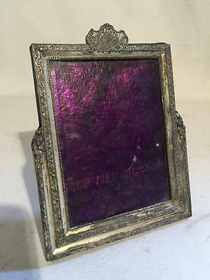 Antique Vintage Pot Metal Silver PICTURE FRAME Wedding Display Ornate Chic Rare