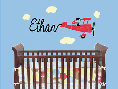 Airplane Plane with Custom Name Vinyl Wall Decal Sticker Children's Bedroom Art