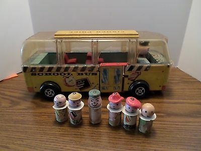 Vintage 1959 #983 Fisher Price Little People Safety School Bus Wooden People