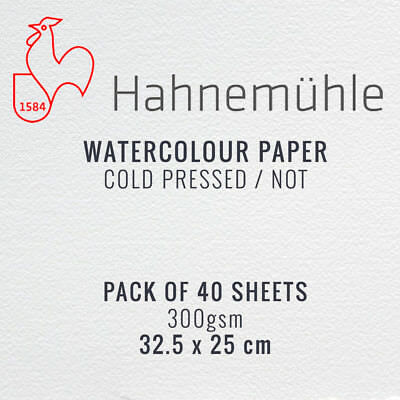 Hahnemuhle Watercolour Painting Paper Pack of 40 Sheets - 25 x 32.5cm, 300gsm