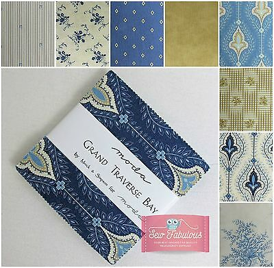 "Moda Charm Pack 42 - 5""  Fabric squares in Grand Traverse Bay Print 100% Cotton."