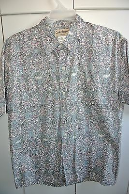 Cooke St  Mens Large  Reverse Asian Floral on Gray/NWOT