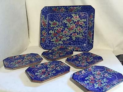 RARE Lot 6 Japan Blue Stoneware Asian Floral SERVING TRAY Appetizer Dishes