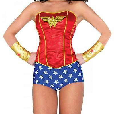 DC Comics LICENSED WONDER WOMAN Deluxe S/M Costume PROP CORSET Lace Up COSPLAY