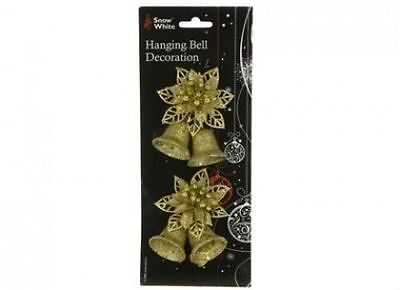 Christmas Tree Hanging Bell and Flower Decorations In Gold Double Pack
