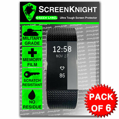 ScreenKnight FITBIT CHARGE 2 / ii - SCREEN PROTECTOR Military Shield - PACK OF 6