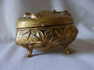 Antique Gold Metal Art Nouveau Footed Trinket Vanity Jewerly Box