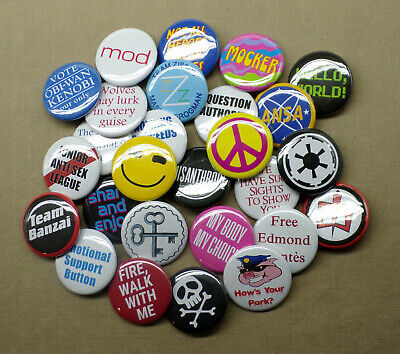 """Build Your Own Custom 3 Button Set 1.25"""" SciFi Horror Cult Humor Quote Christmas"""