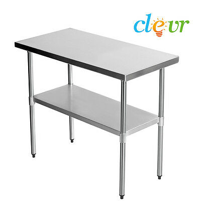 "Clevr 36""X24"" Stainless Steel Commercial Work Table Kitchen Prep 16g Galvanized"