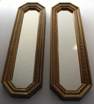 Home Interiors Gold Framed Accent Mirror Set Plastic Hollywood Regency