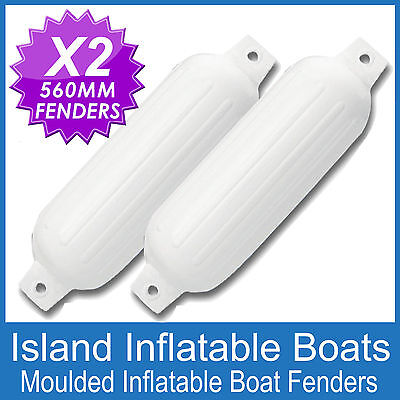 2 x 560mm INFLATABLE RIBBED BOAT BUFFERS FENDERS - WHITE TWIN EYE MOORING GUARDS