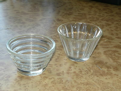 2x Vintage Retro 40s 50s 60s Small Glass Bowls ~ Butter Jam Chutney Condiments
