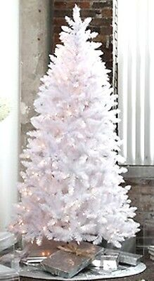 Pre-Lit 6.5' WHITE Artificial Christmas Tree - Clear/ Multi/ Blue lights