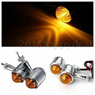 4x Turn Signal Blinker Bulb Light Indicator Motorcycle For Harley Chrome Bullet