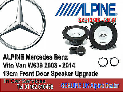 Mercedes Vito W639 2003-2014 Front Door Alpine car speaker upgrade kit 250W