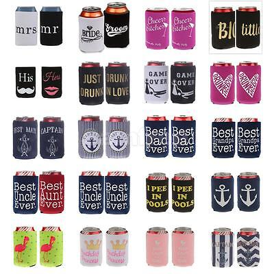 2Pcs Stubby Beer Tin Can Cooler Cover Holder Wedding Favor 20 Best Funny Theme