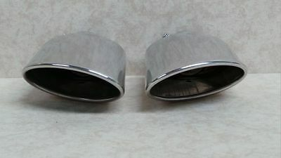 Pair Of Slash Cut Oval Stainless Steel Twin Exhaust Tail Pipe Trim Muffler Tip