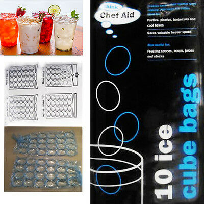 Disposable Ice Cube Bags 10 Clear Sealed Plastic Packs Fridge Freezer BBQ Party