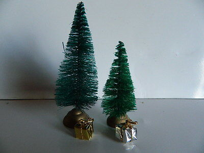 (X.7) Dolls House Two Small Christmas Tree With Parcels