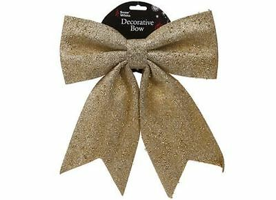 26 x 31cm GLITTER Christmas GOLD Gift BOW Decoration