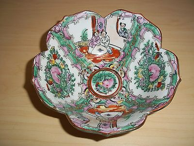 Vintage Chinese Famille Rose Porcelain Hand Painted Medallion Bowl