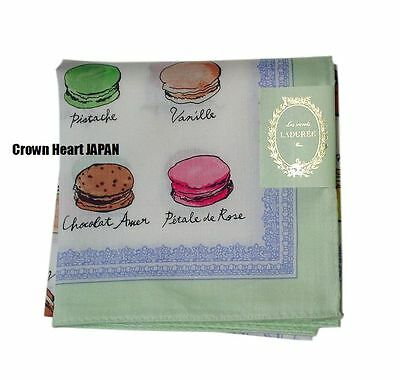 New LADUREE Paris Handkerchief / Mini Scarf Macaron GR Light-Green-border Kawabe