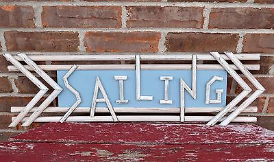 Rustic SAILING Wooden Sign Arrow Directional Dowels Blue & White