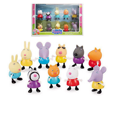 10 pcs New Peppa Pig Friends Action Figures Peppa Friends Toys Gift Set With Box