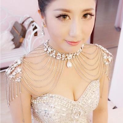 Crystal Jewelry Set Wedding Bridal Dress Necklace Shoulder Chain + Earrings