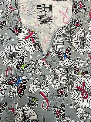 Plus Sized Printed Medical Nursing Scrub Top Butterflies Sizes 3Xl 4Xl 5Xl Nwt