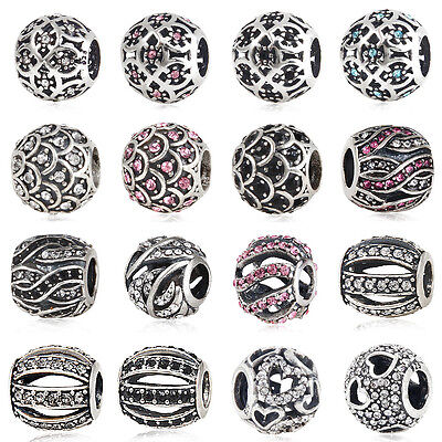 925 Sterling Silver Charms Beads with Crystals