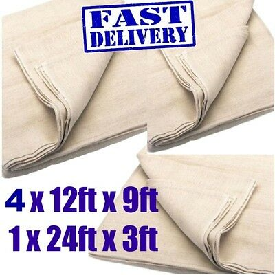 """5 PACK COTTON TWILL WOVEN DUST SHEET 12"""" x 9""""  INCLUDES 24"""" x 3"""" STAIRCASE"""