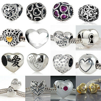 925 Sterling Silver Heart Charms Beads