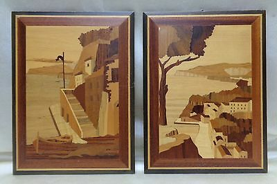 Pair of Beautiful Vintage Italian Art Pieces of Inlaid Wooden Seascape Sceneries