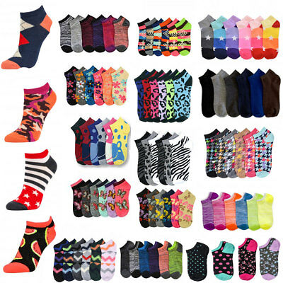 Wholesale Lots Women's Girl Mixed Assorted Designs Ankle Low Cut Socks No Show
