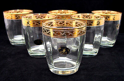 SET of 6 Italian Crystal Scotch Whiskey Rocks Glasses, 24K Gold Rimmed 10 Oz.