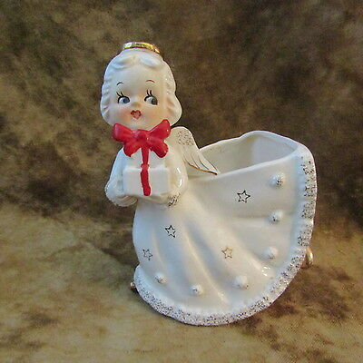 Vintage Angel Holding Christmas Package Planter/VERY GOOD CONDITION!