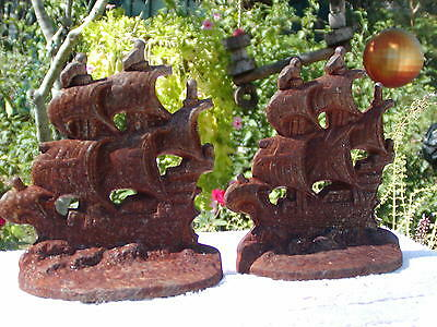 Rusty Old Cast Iron Sailing Ship Bookends