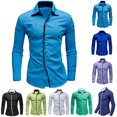 Luxury Fashion Men Slim Fit Shirts Long Sleeve Dress Shirt Casual T-Shirt Formal