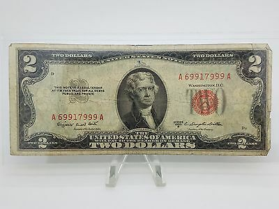 Old Paper Money 1953-B Two $2 Dollar Bill Federal Reserve Note Series Red Seal