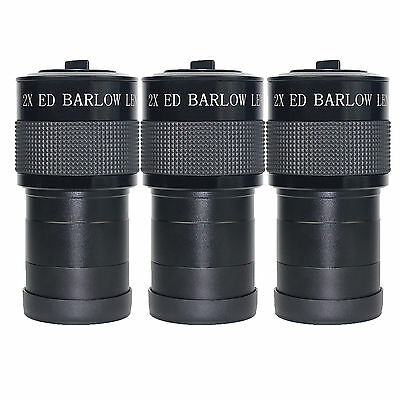 """3pcs ED 2x Barlow Lens Fully Coated for Astronomic Telescope w/2""""to 1.25""""Adapter"""