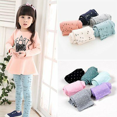 2-7Y Toddler Kids Baby Girl's Tight Pants Stretchy Leggings Trousers Candy Color