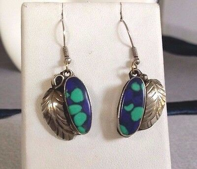 Amazing Mexico Sterling Silver & Lapis Turquoise Dangle Leaf/Feather Earrings