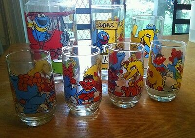 Vintage Collectible Muppets Inc. Sesame Street drinking glass and jar