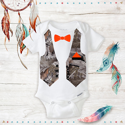 5e6338a56 Camo Camouflage Bow tie Suit Hunting Baby Boy Gifts Unique Wedding Onesie  Outfit