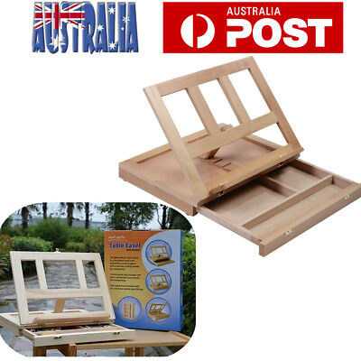 Wooden Easel Artist Craft Folding Box Sketch Painting Table Top Drawing Draft